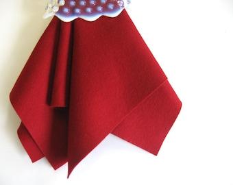 Dark Red Felt, 100% Wool, Felt Square, Large Felt Sheet, DIY Craft Supply, Sewing Fabric, Ruby, Garnet, Deep Red, Nonwoven Felt, Applique