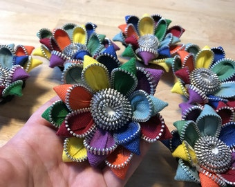 Rainbow Vintage Zipper Flower Brooch or Hair Clip