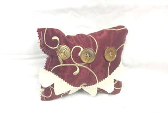 Monster Pillow Burgundy and Gold