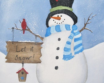 """Snowman holding customized sign,  Acrylic painting 16"""" x 20"""" on stretched, gallery wrapped canvas"""