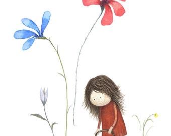 Kids Wall Art Giclee Print of Little Girl Watering