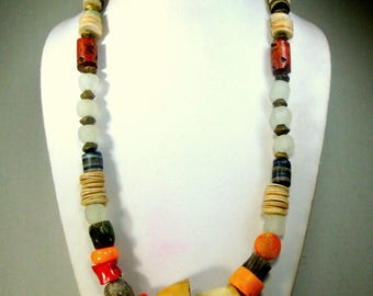 Tribal African Glass, Shell, Brass and STONE Bead Necklace, Bone and Coral also, Recycled to Slave Trade Beads, OOAK R Starr