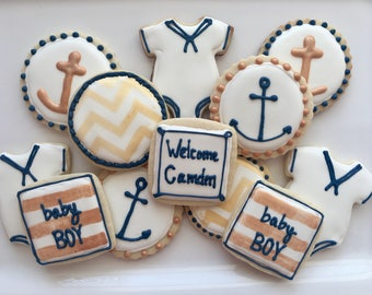 1 dzn. Gold and navy anchor and chevron print decorated sugar cookies. baby shower, engagement, wedding, thank you, nautical theme