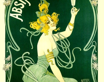 Bar Absinthe Blanqui Blonde Lady Nice France French Drink Vintage Poster Repro FREE SHIPPING
