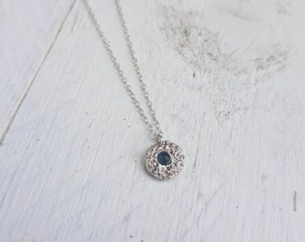 Handmade Fine Silver Textured Gemstone Pendant Necklace - Pictured London Blue Topaz