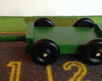 Toy Green Tractor Trailer - Hooks behind the Farm Tractor - Handcrafted Wooden Green Trailer or Wagon to pull behind the Farm Tractor