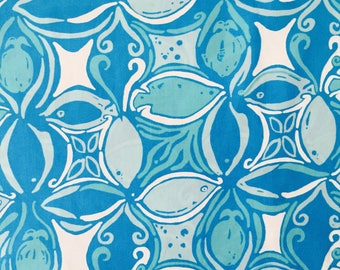 """ariel blue what a racquet poplin cotton fabric square 17""""x17"""" ~ lilly pulitzer"""