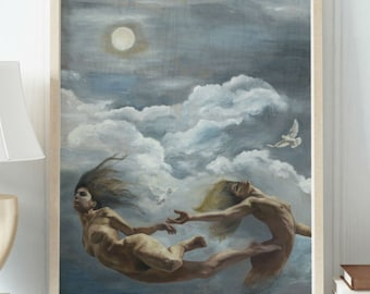 Giclee on PAPER - Mermaids of the Sky - Art Print on Paper of Original Oil Painting Portrait