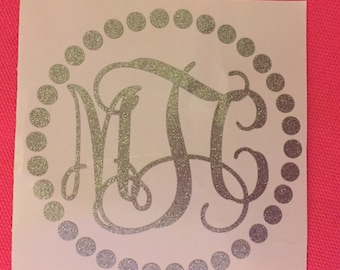 Glitter Monogram in a Dot Frame Vinyl Decal Vine Monogram Sparkle Car Sticker