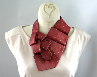 Necktie Scarf - Office Wear - Gift For Wife - Upcycled Tie - Hipster Scarf - Red and Blue Lauren Scarf. 4
