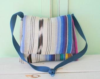 Vintage AZTEC Hippie Shoulder Bag...aztec. boho. hippie. colorful. knit. purple. blue. yarn. woven. shoulder purse. retro. indie. ethnic