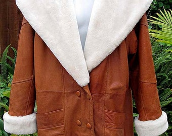 Vintage Wilsons Leather Coat with Fleece Collar and Hood - Fits Size Medium to XLarge