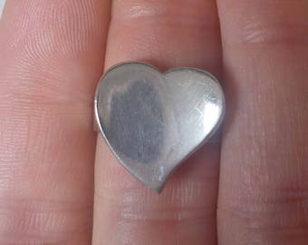 Vintage Sterling Heart Ring Size 8