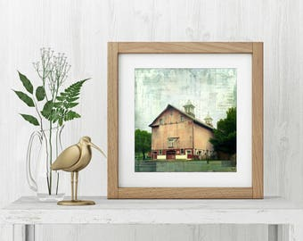 "Farm Print: Mixed Media Photography, Red Barn, Farm print, Connecticut Barn, Haddam Barn, 8""x8"" (203mm) or 12""x12"" (304mm) ""Hazenhurst Barn"""