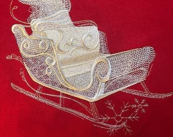 Christmas Sleigh, Santa's sleigh, Embroidered Shirt, Christmas Shirt, Embroidered Christmas Shirt