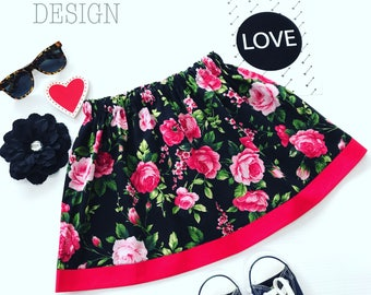 Red and Black Rose Cotton Floral Skirt With Red Trim