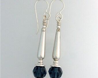 Swarovski Montana Sapphire and Sterling Silver Earrings