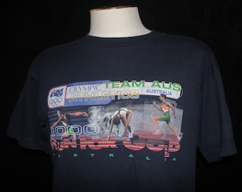 Australian Olympics 1990s Run For Gold Team Australia Vintage T-shirt