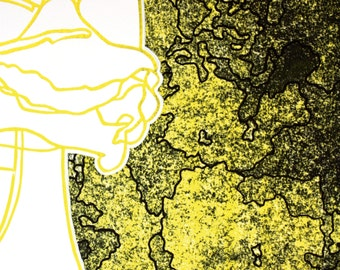 Eenzelvig (Introverted) - Portrait of man in black and yellow printed on white paper, hand-made lino print