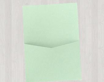 10 Flat Pocket Enclosures - Mint & Light Green - DIY Invitations - Invitation Enclosures for Weddings and Other Events
