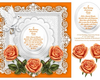Coral Roses Wedding Anniversary 8 x 8 Card Topper With Decoupage