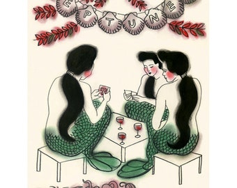 "Mermaid Art print -  Card Game at Neptune's - 8.3"" X 11.8"" -  4 for 3 SALE"