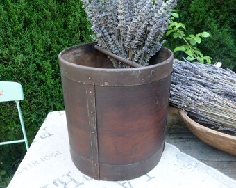 Vintage Wood Bucket, French Grain Measure, Vintage Canister, Rustic Measuring Cup, Primitive Farm French Country Farmhouse Decor
