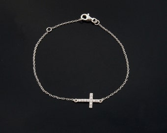 CZ Sideways Cross Bracelet in SIlver