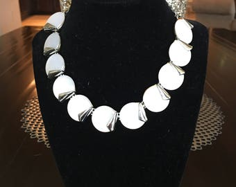 Vintage Charel Silvertone White Lucite Thermoset Choker and Earings