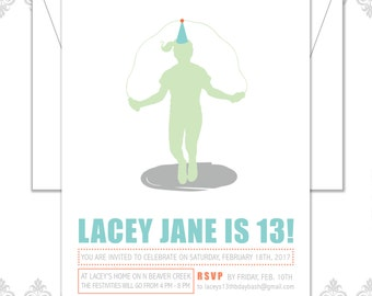 Jumprope invite, Jumping Rope Birthday invite, Jump rope party, modern birthday girl, active girl party invite, silhouette girl invite