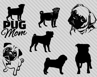 Pug svg bundle, pug clipart, pug silhouette svg, pug mom svg, love pugs svg, png, dxf