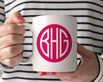 Monogram Coffee Mug, Personalized Coffee Mug, Monogram Mug, Custom Coffee Mug, Monogram Tea Cup, Cute Coffee Mug, Pink Monogram Mug,