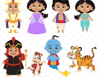 Princess Digital Clipart, Princess Clipart, Aladdin Clipart, Jasmine Clipart