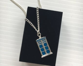Dr Who Necklace - Can Be Personalised With Extra Charms - Tardis Police Box Silver & Blue Jewellery / Present With Gift Box