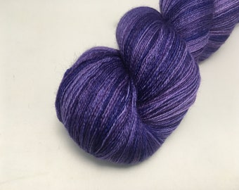 Merino Dreams - Deep Lavender Blossoms - Ready to Ship - Hand Dyed - Merino Wool Yarn - Lace Weight