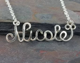 Ready to Ship- Nicole Name Necklace- Premade, sterling silver