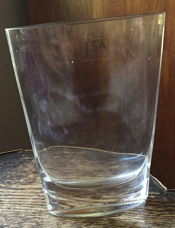 Sale Modernist Crystal Vase By Lsa International 8 Inches Tall
