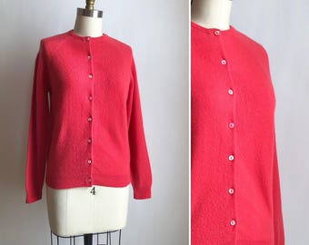 1960s pink cashmere cardigan S/M ~ vintage button down sweater