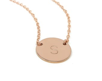 Rose Gold Filled Initial Necklace - Hand Stamped Initial Disc Necklace - Personalized Jewelry - Celebrity Style - Personalized Necklace