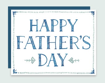 Happy Father's Day Card - Hand-lettered Father's Day Card, Watercolor Father's Day Card, Happy Father's Day, Masculine Father's Day Card