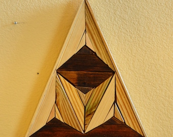 Inlaid wood art wall hanging