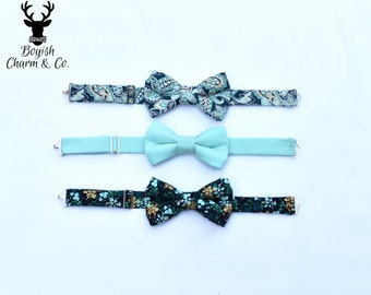 Boys Blue Bow Tie, Boys Teal Bow Tie, Toddler Aqua Bow Tie, Boys Navy Blue Bow Tie, Ring Bearer Bow Tie, Newborn Photo Prop, Boyish Charm