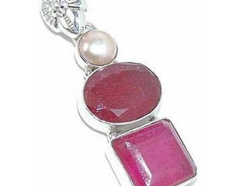 Ruby and Pearl Sterling Silver Pendant