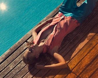 Silk modal turquoise harrem pants