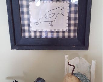 "Primitive ""One crow for sorrow"" hand embroidered wall hanging"