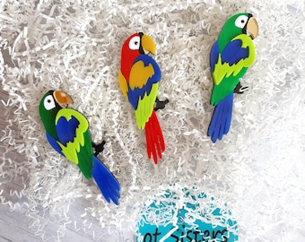 Parrot Brooch Acrylic Brooch Bird Brooch Red Bird Brooch Green Bird Brooch Bird Jewelry Red Jewelry Handmade Gift For Mom Plexiglas Pin