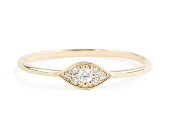 Evil eye ring, 14k gold with white diamonds, Evil eye jewelry, rose gold white gold option