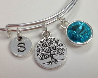 Tree of Life Birthstone bangle,  Tree Of Life Initial Bracelet, gift mom personalized bracelet, Mother's day gift, gift for mom