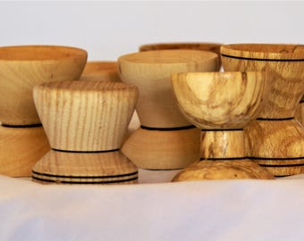 6 egg cups, various woods