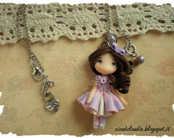 Lilac princess doll necklace (Polymer clay)